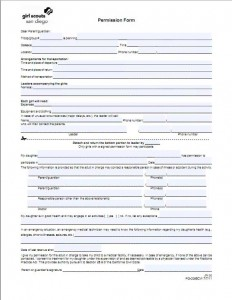 new fill able permission slip sunnytrails girl scout