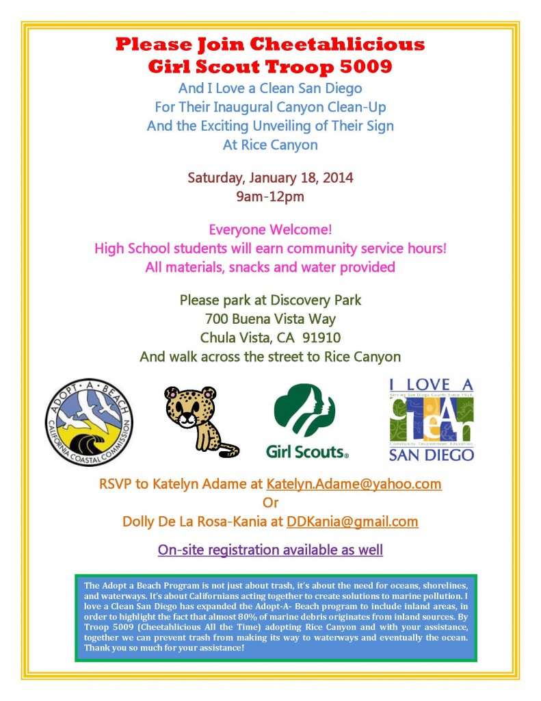 Rice Canyon Clean Up Day Jan 18 2014