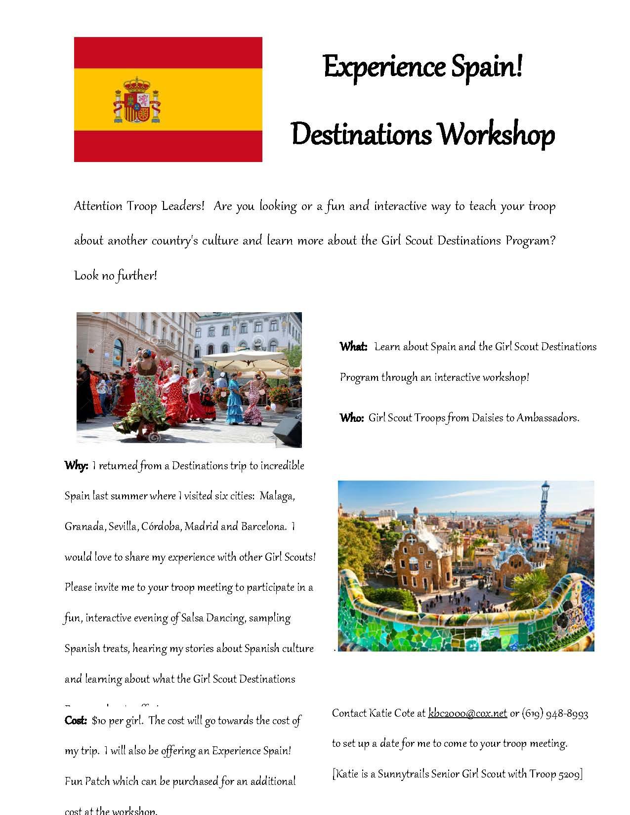 Experience Spain! Destinations Workshop Flyer_Katherine Cote [226989]