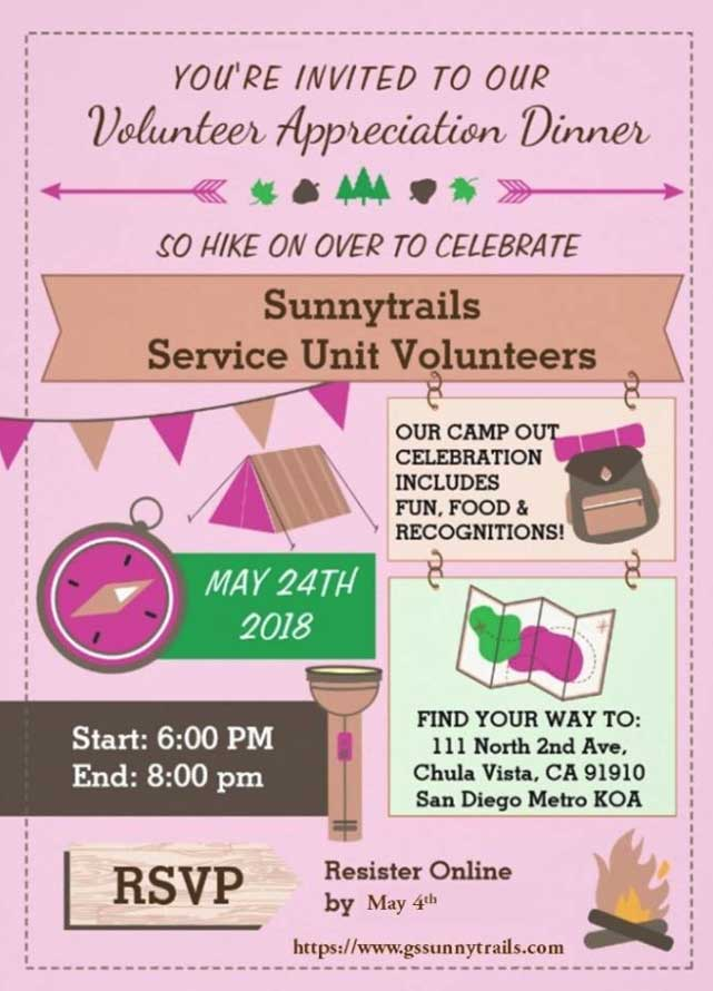 Volunteer Appreciation Dinner Sunnytrails Girl Scout Service Unit